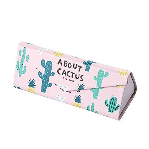 Zusammenklappbarer Brillenetui Magnetischer Verschluss Brillenetui Kurzsichtige Brillenbox Kaktus Rosa