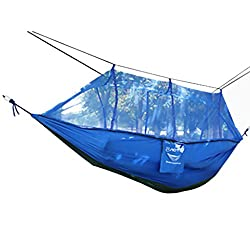 Magideal Double Hammock Tree 2 Person Patio Bed Swing Outdoor with Mosquito Net Blue