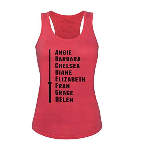 GO HEAVY Mujer Deportivo Tank Top - The Crossfit Girls: Angie, Barbara - Fuchsia - S