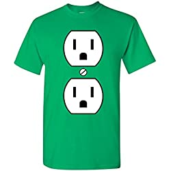 Gfj65S Plug Outlet Face Party Costume Funny Humor DT Adult T-Shirt tee