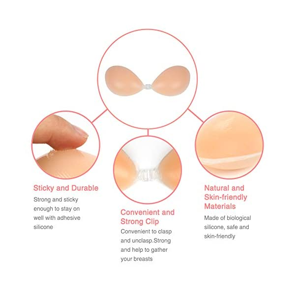 SHINYMOD Reggiseno Senza Spalline, Adesivo in Silicone Reggiseno Invisibile Senza Schienale Push Up Sexy Riutilizzabile… 4 spesavip