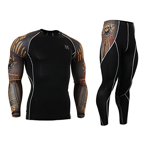 Cycling MTB Motorcycle Workout Running Compression Sportwear Jersey & Pants Suit Y35 L