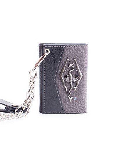 Skyrim Wallet Chain With Metal Dragon Badge Black
