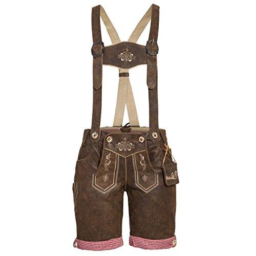kurze Lederhose in used Dunkelbraun von Marjo Trachten, Größe:36;Farbe:Dunkelbraun