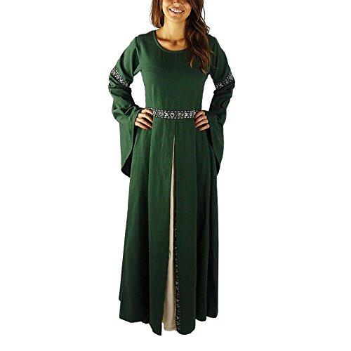 Mittelalter Herbstkleid Ava mit weitem Ärmeln grün - M