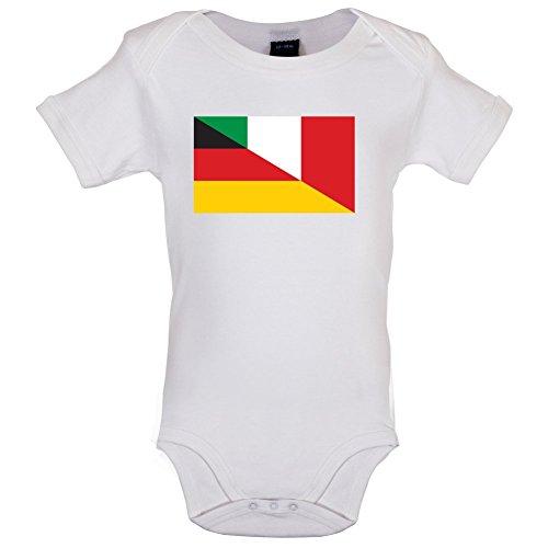 Half German Half Italian Flag - Lustiger Baby-Body - Weiß - 3 bis 6 Monate (Sweatshirt Italienisch-flag)