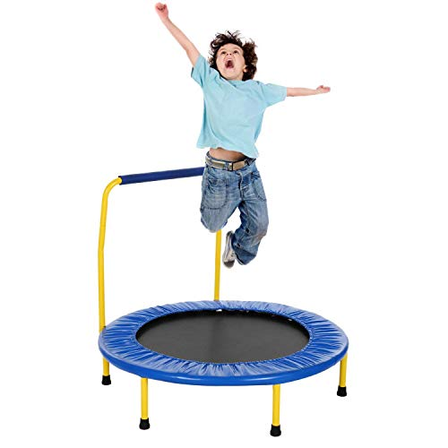 Smibie Trampoline pour Enfants ø92cm avec Barre Mini Trampoline Interieur avec Poignée Capacité jusqu'à 75kg pour Enfants 3-5 Ans (Bleu)