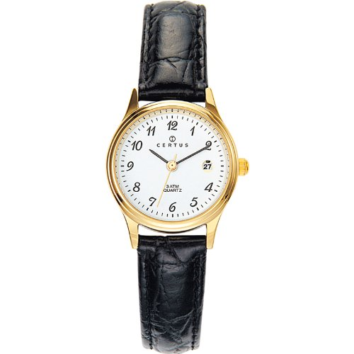 Certus - 646459 - ladies analogue quartz watch - white dial - black leather strap