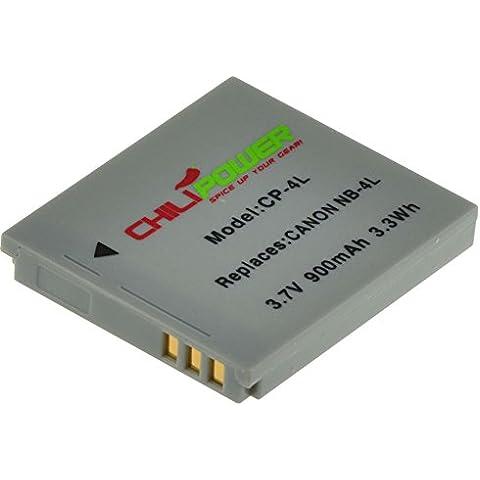 Batería ChiliPower Canon NB-4L 900mAh para Canon Digital IXUS 30, 40, 50, 55, 60, 65, 70, 75, 80 IS, i7, Powershot SD30, SD40, SD200, SD300, SD400, SD430, SD450, SD600, SD630, SD750, SD780 IS, SD940 IS, SD960 IS, SD970 IS, SD1000, SD1100 IS, SD1100 IS, SD1400 IS, TX1, ELPH 100 HS, 300 HS, 310 HS, 330 HS, VIXIA