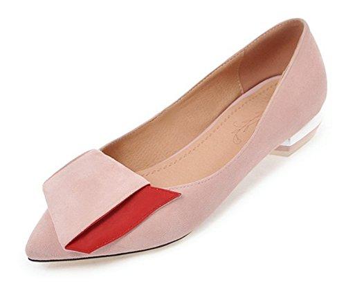 Aisun Femme Confort Basse Pointue Loafers Ballerines Rose