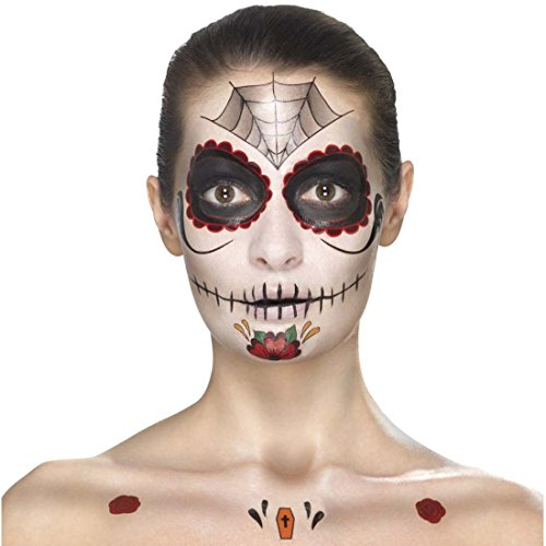 Schminkset Dia de los Muertos Makeup-Set Sugar Skull mehrteilig rot-schwarz Calavera Beauty Kit Tag der Toten Tattoo-Set Halloween Schminke Mexikanische Totenmaske schminken