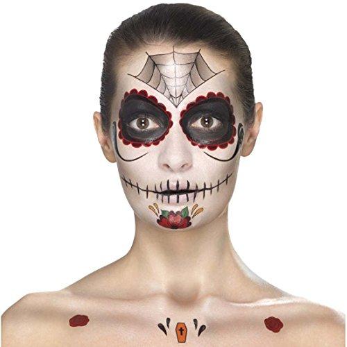 s Muertos Makeup-Set Sugar Skull mehrteilig rot-schwarz Calavera Beauty Kit Tag der Toten Tattoo-Set Halloween Schminke Mexikanische Totenmaske schminken (Sugar Skull Halloween Make Up)