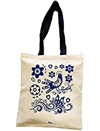 Arka 100% Cotton Eco-Friendly Zipper Tote Bag Printed Blue Bird With Blue Handle