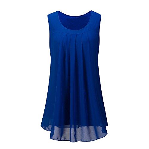 OverDose Damen Sommer Ärmellos O-Ausschnitt Casual Chiffon Solide Weste Bluse Tank Tops Camis Frauen T Shirt Tees (Blau,EU-46/CN-L) -