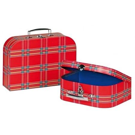 Kinderkoffer Koffer rot kariert Pappe klein 60103