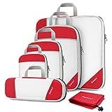 Gonex Cubi Organizzatori di Valigie Estensibili Sacchetti Organizer per Viaggi di Nylon Tessuto a rete, Borse per Bagagli Imballaggio Deposito Abbigliamento Scarpe, (Set di 6 pezzi, Rosso)