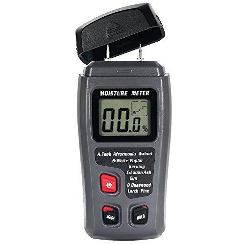 Feuchtigkeitsmessgeräte LBELL Handheld Feuchtemessgerät Bereich 0%-99,9% Genauigkeit±0.5% Holzfeuchtemessgerät mit LCD-Display 2-Pin-Sensor Digital Detektor für Holz Brennholz Baustoffe (9V Batterie enthalten)