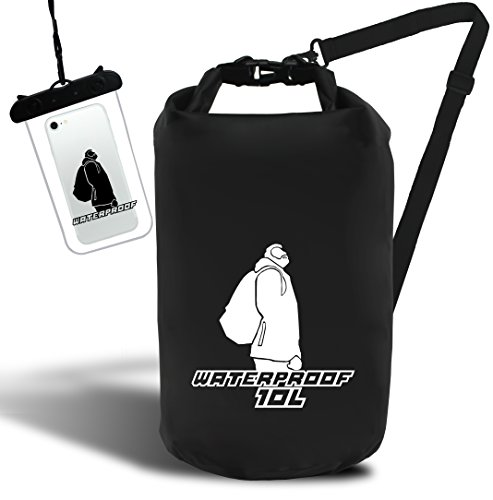 Premium Quality Waterproof Dry Bag / Sack with FREE IPX8 Phone Pouch and Adjustable Shoulder Strap, Perfect for Kayaking / Rafting / Boating / Camping / Fishing / Swimming / Snorkelling / Snowboarding