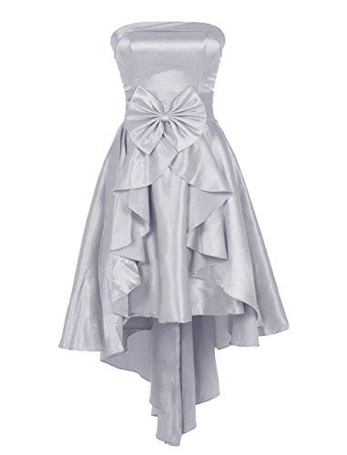 Find Dress Femme Robe de Soirée/Cocktail/Cérémonie Asymétrique Robe Bustier Courte à la mode en Satin Elastique avec Noeud de Papillon Gris