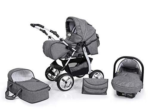 Clamaro 'Primal VIP' 3in1 Premium Kombikinderwagen System, Kinderwagen Kombi mit Babywanne, Buggy und Auto Babyschale Gruppe 0+ (0-13 kg), Felge: Delta (Hartgummi Reifen), Design: 65. Leinen Grau