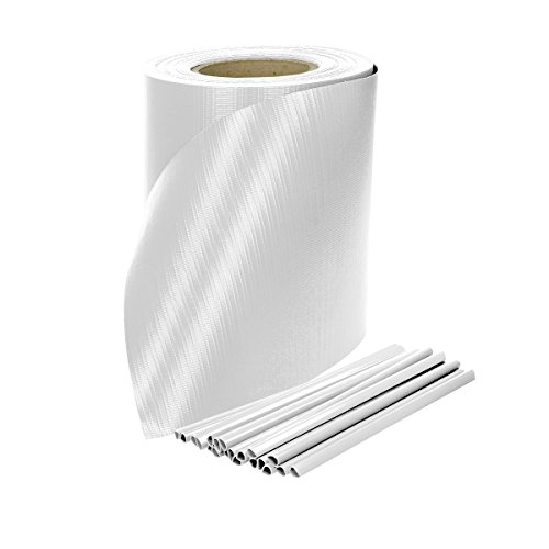 ECD Germany Brise vue occultant renforcé Rouleau de 65m x 19cm 13m² PVC Film de Protection Visuelle Couverture de clôtures Blanc avec 30 clips de fixation