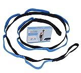Cinghia di Yoga Flessibili Stretching Strap con 10 Fisso Loop Multifunzione Cintura di Ginnastica Adatto per Pilates,Yoga, Danza, Balletto & Allenamento con Guida All'esercizio Blu 2 Metri