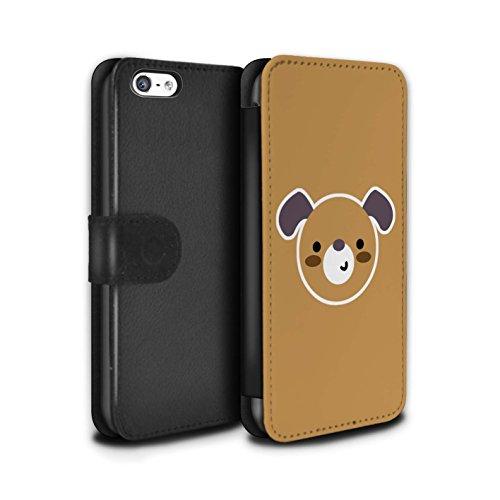 Stuff4® PU-Leder Hülle/Case/Tasche/Cover für Apple iPhone 5C / Hund/Welpe Kunst Muster/Niedliche Minimalistische Tiere Kollektion (5c Welpe Fall Iphone)