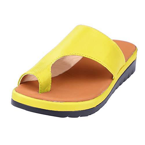 NIBESSER Sandalen Damen Sommer Sandaletten Plattform Sandale Schuhe Flachen Frauen Strand Schuhe Plateau Flip Flop Sommersandalen Bequeme Elegante Schuhe Gr.35-43 (EU 39, gelb)