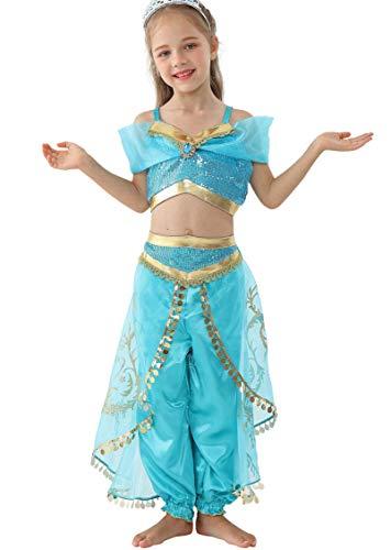 Kinder Kostüm Jasmin Disney - Lito Angels Mädchen Prinzessin Jasmin Kleid Kostüm Weihnachten Halloween Party Party Verkleidung Karneval Cosplay Kinder 8-9 Jahre