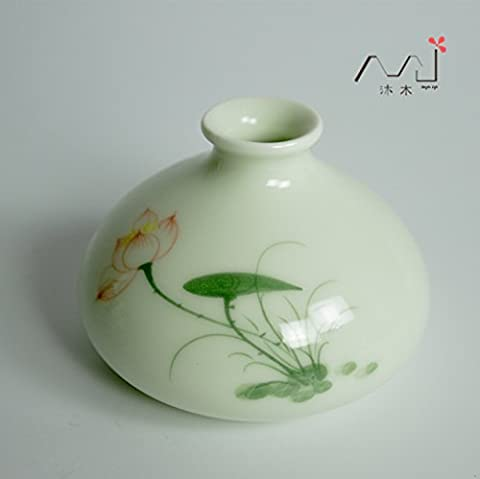 Maivas Vase Creative Personality Home Ceramic Small Ornaments Mini Small Hand-Painted Lotus Jewelry, Lcf02