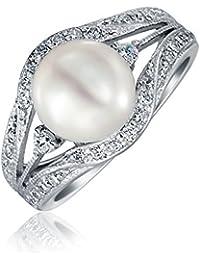 Bling Jewelry Anillo de Compromiso Estilo Vintage Plata de Ley con Circonitas y Perla de Agua Dulce 9mm