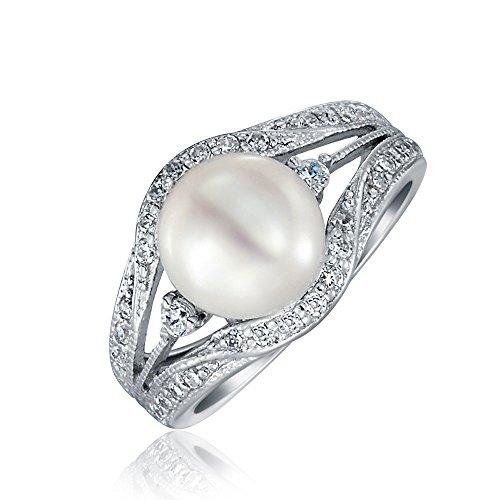 Estilo Art Deco Blanco Aqua Fresca Culturada Perla Anillo De Compromiso Para Mujer Allanar Triple Banda Dividida 925
