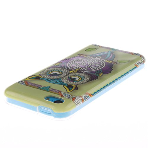 iPhone 5C Hülle,iPhone 5C Case [Scratch-Resistant] , Cozy Hut Apple iPhone 5C Ultra Slim Perfect Fit Painted Designs Design Muster Malerei TPU Clear Transparent Protective back Hülle Hüllen Beschützer Owl Führer