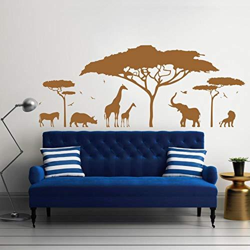 Afrikanische Safari Wandtattoo Vinyl Kunst Aufkleber Zoo Natur Giraffe Kindergarten Elefant Abnehmbare Tapete Schlafzimmer Dekor Diy Kid 142 * 57 cm
