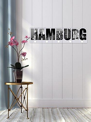garderobe hamburg Livingstyle & Wanddesign Garderobe, Motiv Hamburg schwarz weiß