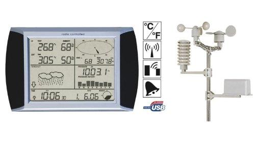 Velleman 406062 Stazione Meteo radiocontrollata WS1080, Touch Screen, con accessori, 233mm x 145mm x 33mm