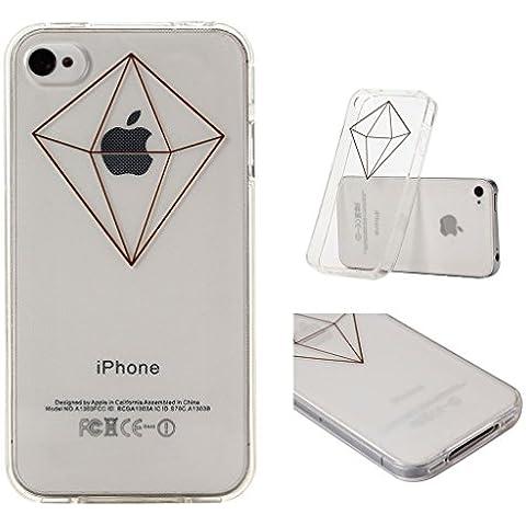 iPhone 4 / 4S Cover , YIGA 3D Nero Semplice Trasparente Silicone Cristallo Morbido TPU Case Custodia per Apple iPhone 4 / 4S