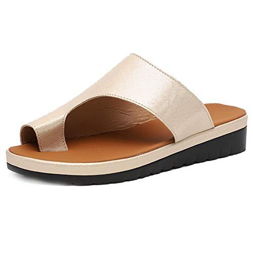 HBBLX Sandali Alluce Valgo Summer Beach Travel Shoes Scarpe di Moda Sandali da Donna Comode Scarpe Correzione Dell'osso,Gold,37
