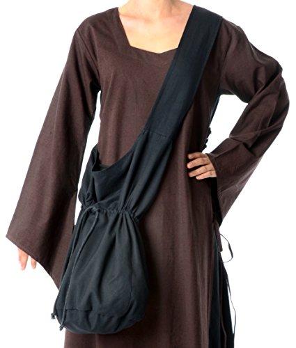 HEMAD Mittelalter Umhänge-Tasche braun schwarz rot grün blau beige Baumwolle/Leinenlook Mittelalterliche Kleidung (one Size, schwarz)