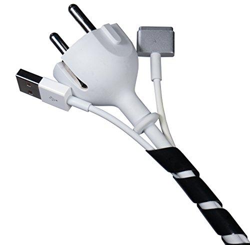 Flexowire Kabelspirale Spiralkabelschlauch 10 m 4-50 mm schwarz Kabelschlauch mit flexibler Bündelweite zum Bündeln von Kabeln z.B. am Computer, TV, HiFi-Anlage -
