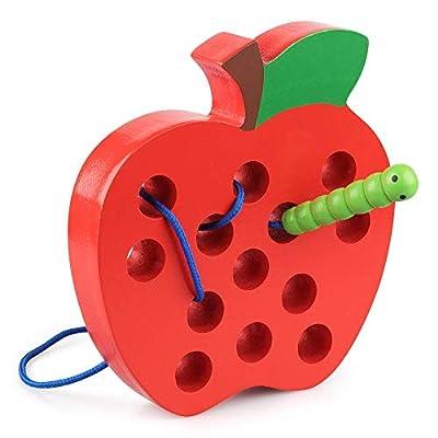 Coogam en Bois Laçage Pomme Fileter Jouet Jeu de Patience de Voyage Montessori Apprentissage Précoce Motricité Fine Cadeau éducatif pour 1 2 3 Ans Les Tout-Petits Les Enfants Bébé