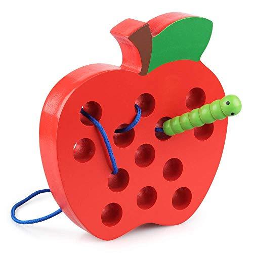 Coogam Holz Fädelspiel Apfel Motorikspielzeug Reise Spiel Montessori früh Lernen Feinmotorik Pädagogisches Geschenk für 1 2 3 Jahre alt Kleinkinder Kinder Baby (äpfel Zu äpfel Kinder)
