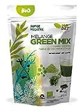 Green Mix 100% Bio -Super Mélange Détox (Chlorelle-Spiruline -Herbe d'orge-Herbe de blé Bio)