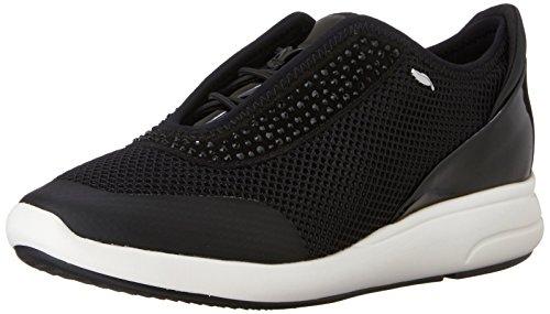 Geox d ophira e - scarpe da ginnastica basse donna, nero (blackc9999), 38 eu