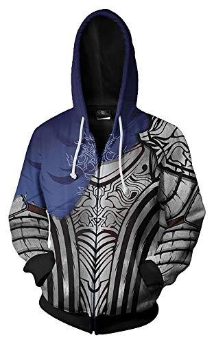 Souls Kostüm Cosplay Dark - MingoTor Herren Damen Knight Artorias Dark Souls Kapuzenjacke 3D Pullover mit Kapuze Sweatjacke Hoodie Cosplay Kostüm Unisex
