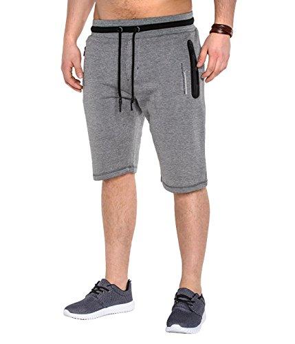 BetterStylz ItchBZ2TNE Court Sweatpant Short Pantalon de gymnase du sport Jogging Fermetures à Glissière étanches Pantalon Casual Bermuda Court div. Couleur (S-XXL) Gris Foncé