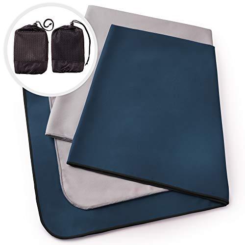 Mikrofaser Handtücher 2er Set von The Friendly Swede inkl. 2x Netztaschen, Ultraleichte Reisehandtücher schnelltrocknend, weich und saugfähig. Ideal als Sporthandtuch, Badetuch, für Urlaub und Fitness (50 cm x 100 cm - 2 Stück)