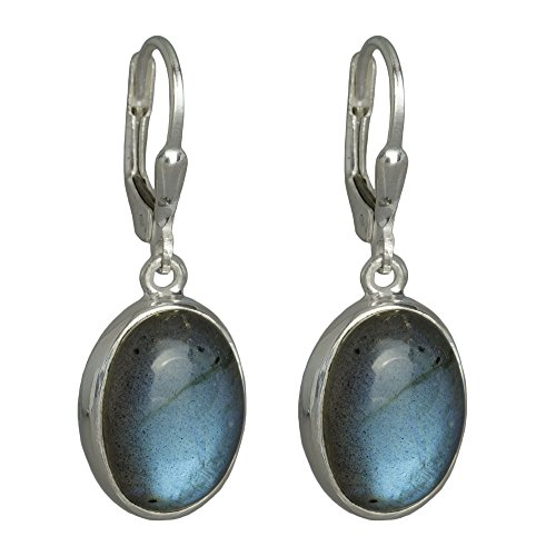 I-be,Labradorit Edelstein 10x14 mm Ohrringe oval 925 Silber, Länge 3,3 cm im Geschenketui, 392812 g KB - Silber Oval Ohrringe