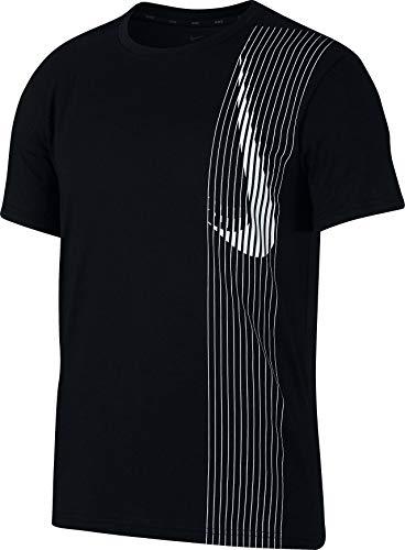 Abdeckung Herren T-shirt (Nike Herren M NK Dry TOP SS LV T-Shirt, Black/White, XL)