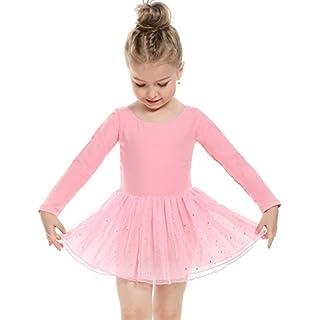 Arshiner Kinder Mädchen Ballettkleid Langarm und Ärmellos Süßes Ballettanzug Tanzkleid Turnanzug Trikot Tanz Leotard Kleider mit Röckchen